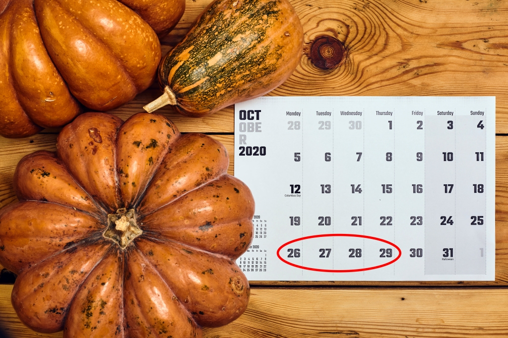 October 2020 calendar with the 26th through 29th circled