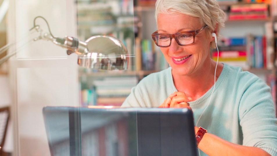 Woman looking at computer