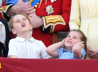 Prince George and Princess Charlotte on the Buckingham Palace balcony