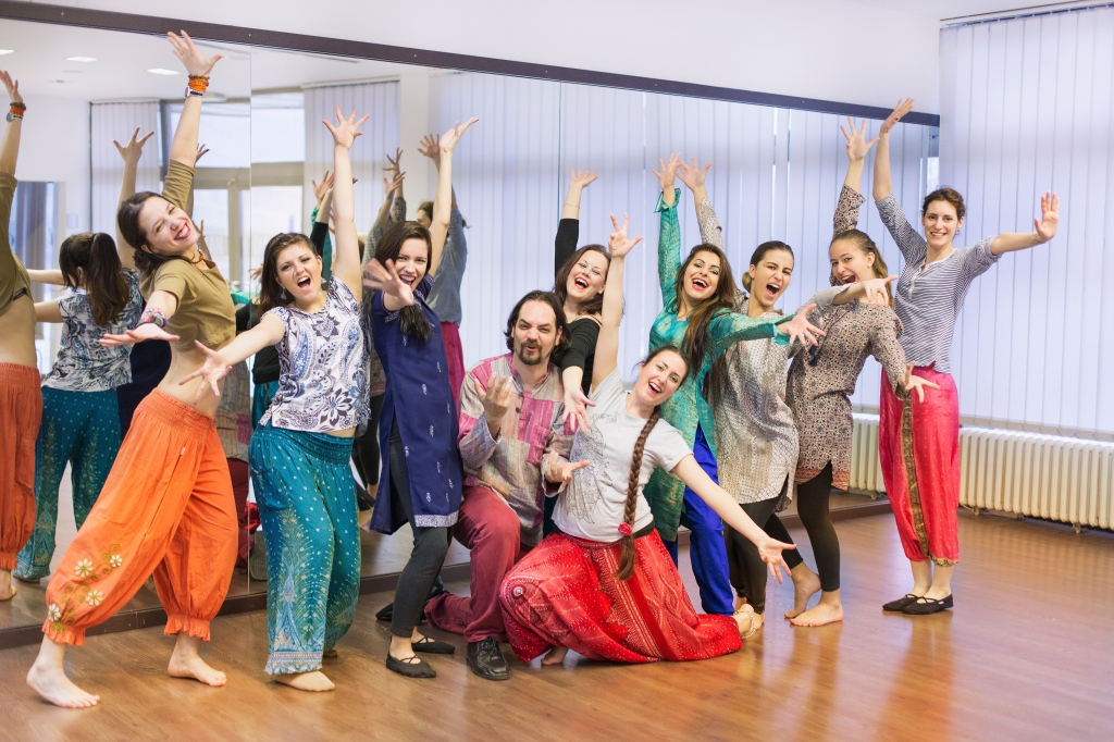Group of people working out at Bollywood dance class.
