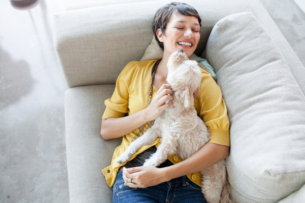 Young woman hugging dog on living room sofa