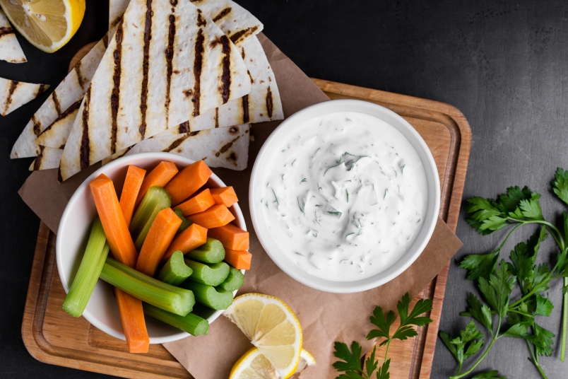 bowl of dip and vegetables