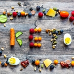 the word keto shaped in fruits vegetables and protein