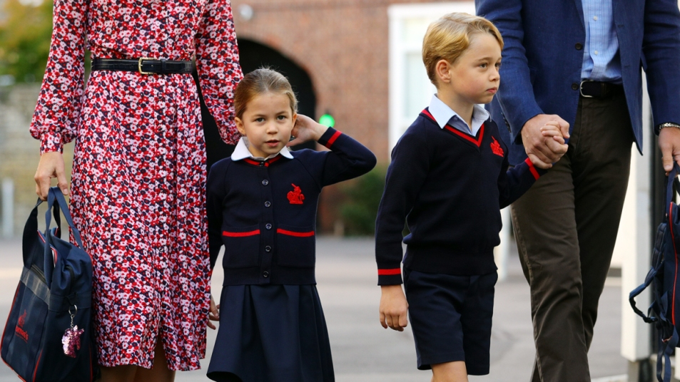 Prince George and Princess Charlotte walking to school