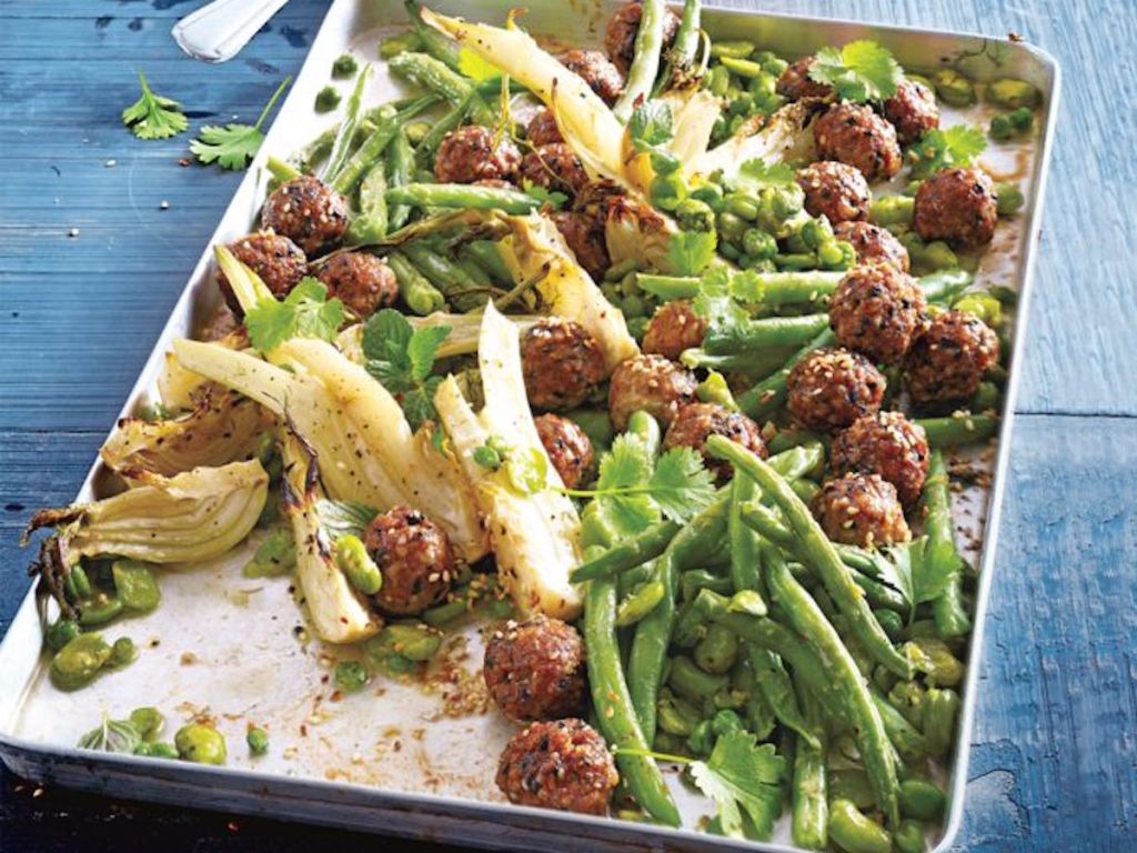 sesame meatballs on sheet pan with vegetables