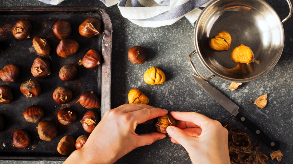 Woman shelling chestnuts