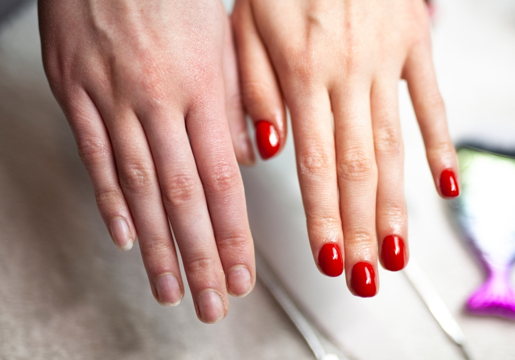 Before and after nail manicure