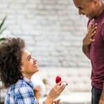 Woman proposing to her boyfriend