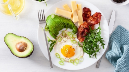 Plate of eggs, avocado, bacon, and cheese