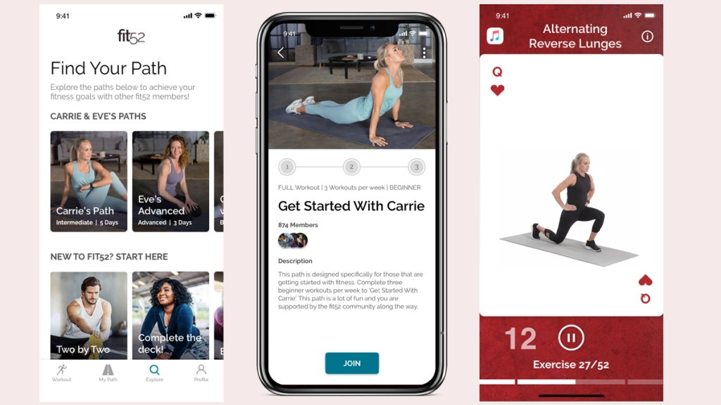 Screenshots of Fit52 app