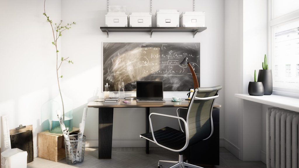 A clean and bright unoccupied small home office
