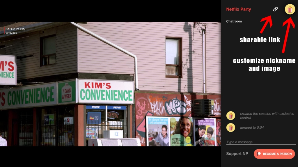 Screenshot of Netflix Party chat sidebar