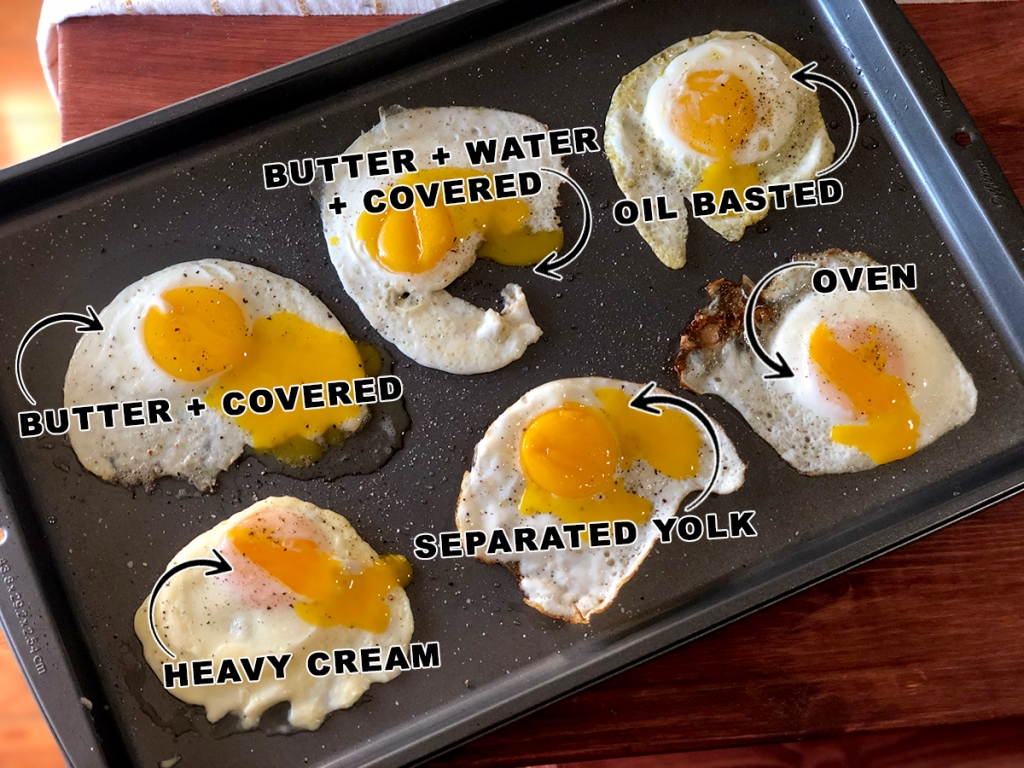 Pan of fried eggs with runny yolks