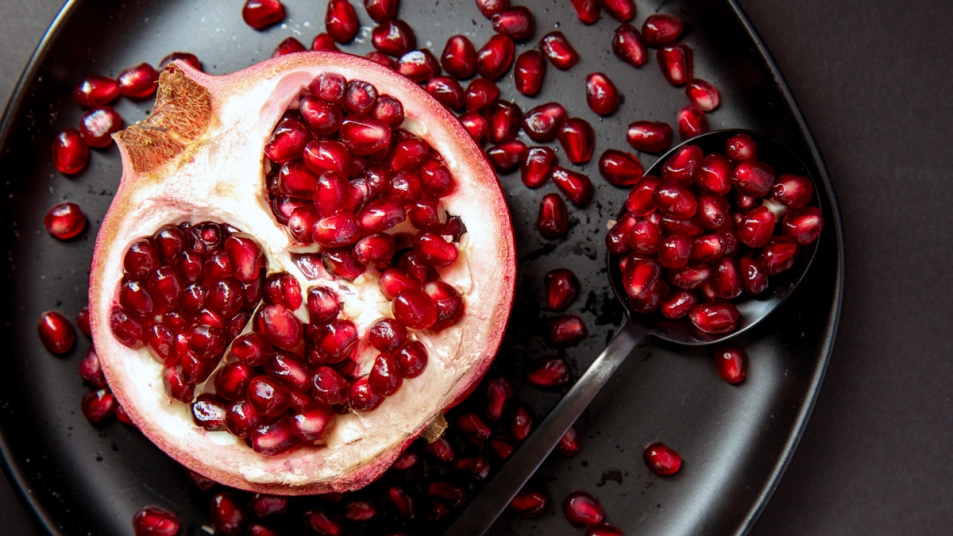 Open pomegranate and seeds