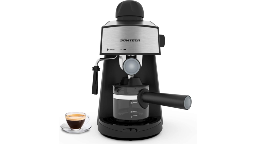 SOWTECH Espresso Machine 3.5 Bar 4 Cup Espresso Maker Cappuccino Machine with Steam Milk Frother and Carafe