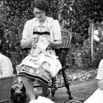 Women darning socks in WWII