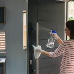 woman cleaning front door