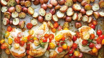 Bruchetta chicken and potatoes on sheet pan