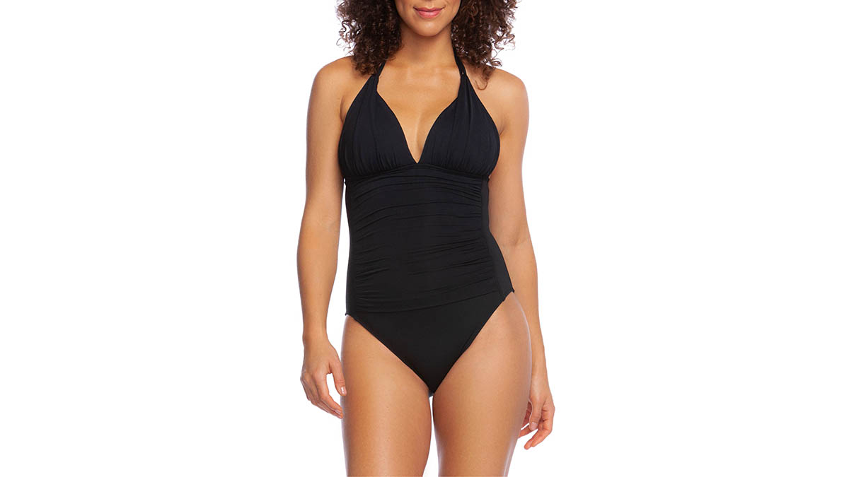 black halter one-piece swimsuit
