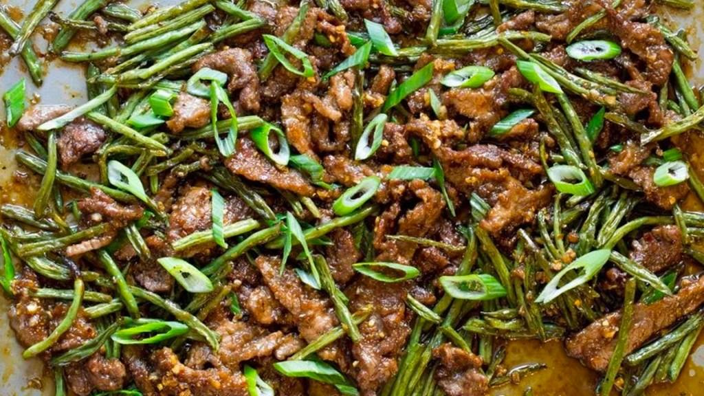 Mongolian beef on sheet pan