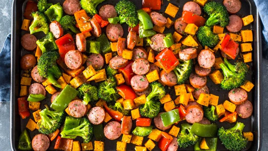 Turkey sausage and veggies on sheet pan