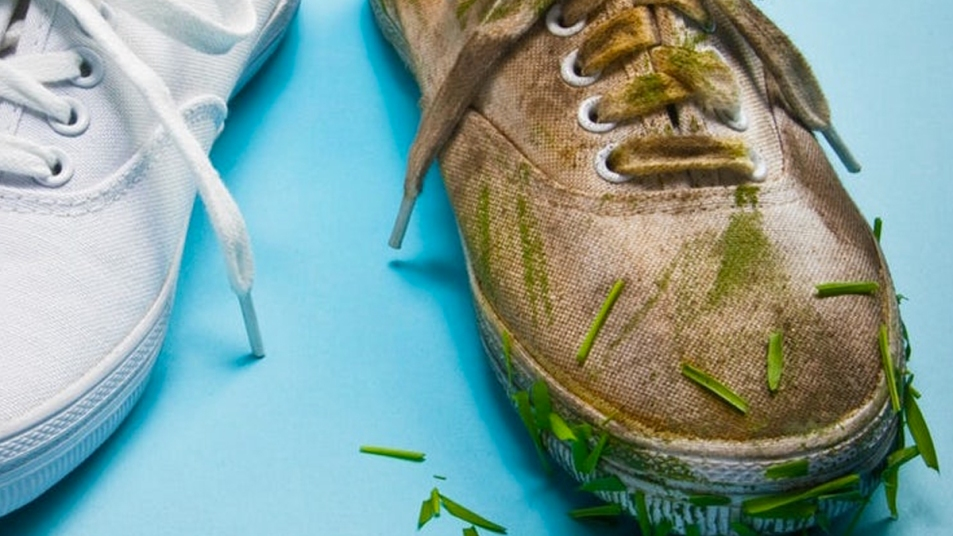 One clean shoe and one grass stained shoe