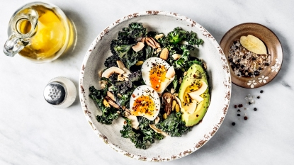 Salad with kale, avocado, and egg