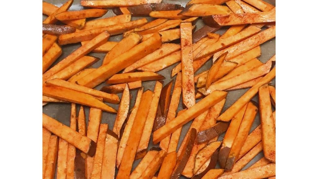 Pan of sweet potato fries
