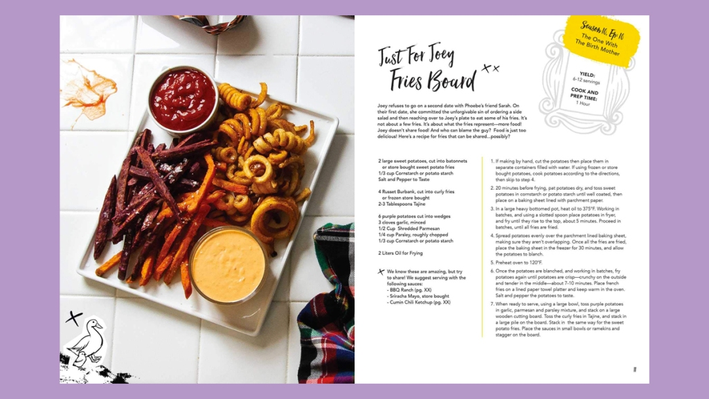 """Recipe for """"Just For Joey Fries Board"""" from Official Friends Cookbook"""