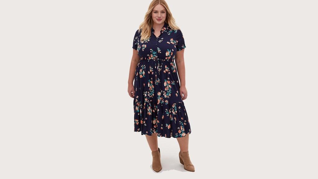 floral shirt dress plus size