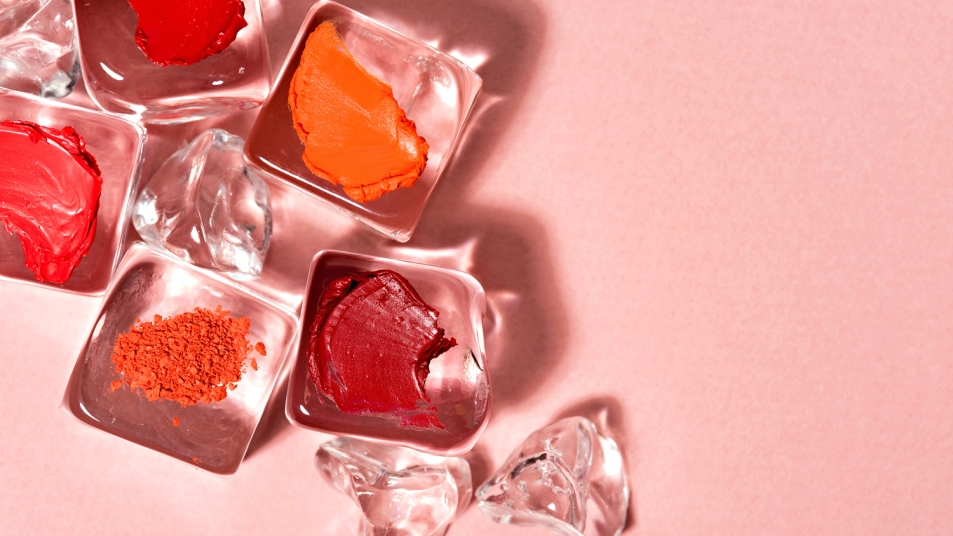 lipstick and ice cubes