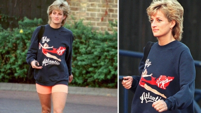 Princess Diana leaving gym in sweatshirt and bike shorts