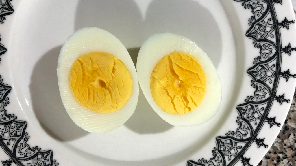 "Oven ""hard boiled"" egg cut in half"