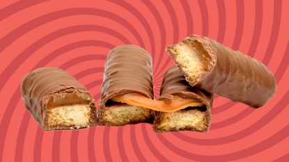 Twix bars with red spiral background