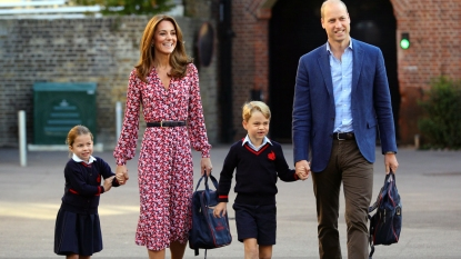 Prince William and Kate dropping George and Charlotte off at school