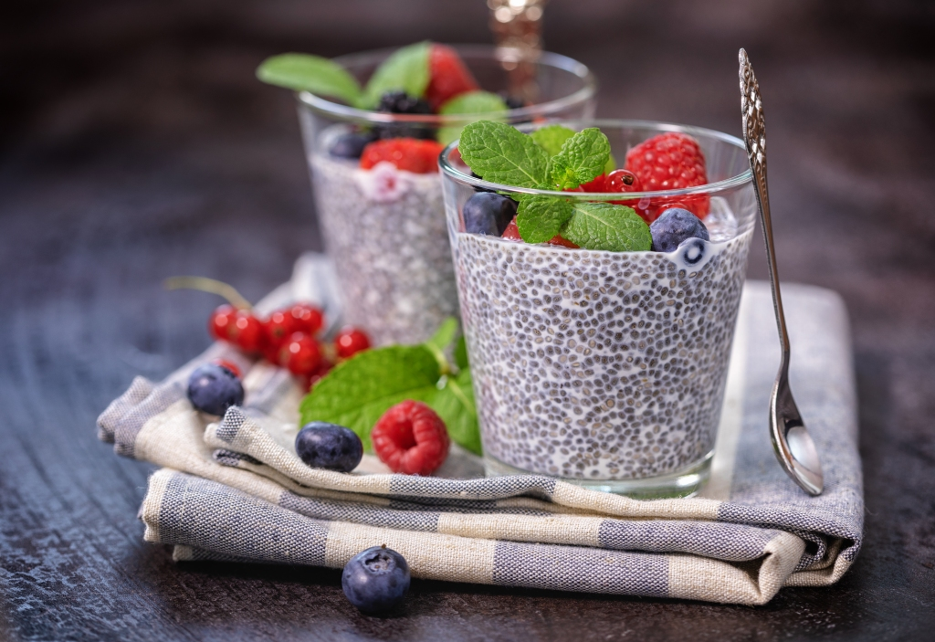 Chia seed pudding with fresh berries for the breakfast