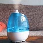 A humidifier on a coffee table