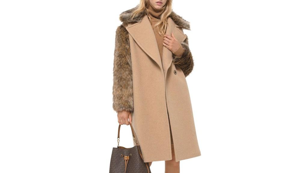 michael kors faux fur trimmed coat