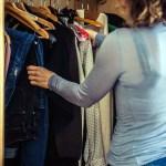 Woman organizing her closet