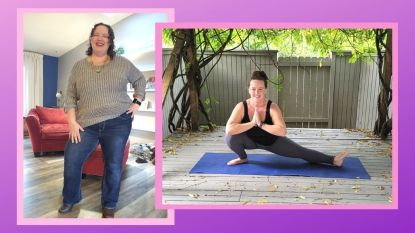Amanda Dittlinger before and after doing yoga every day