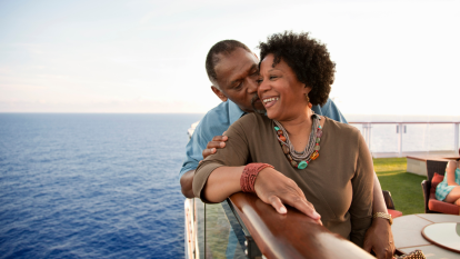 older couple in love on a boat