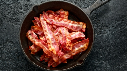 Skillet with pile of bacon