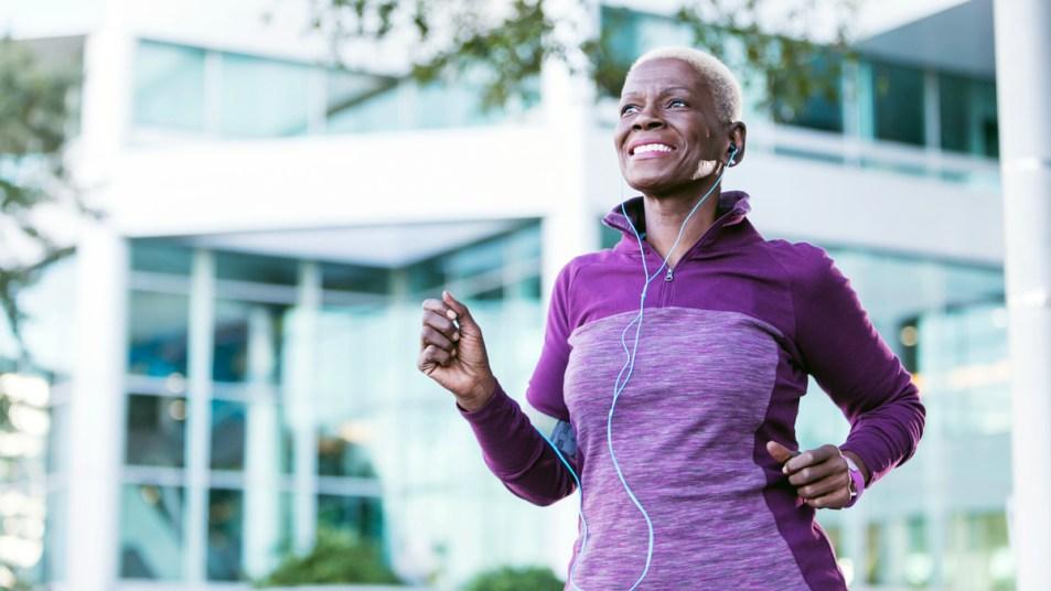 Older woman jogging