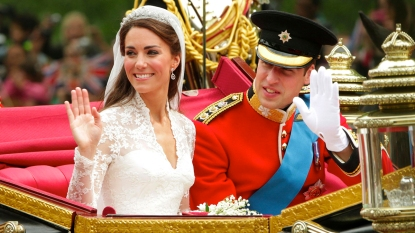 Princ William and Kate Middleton on their wedding day