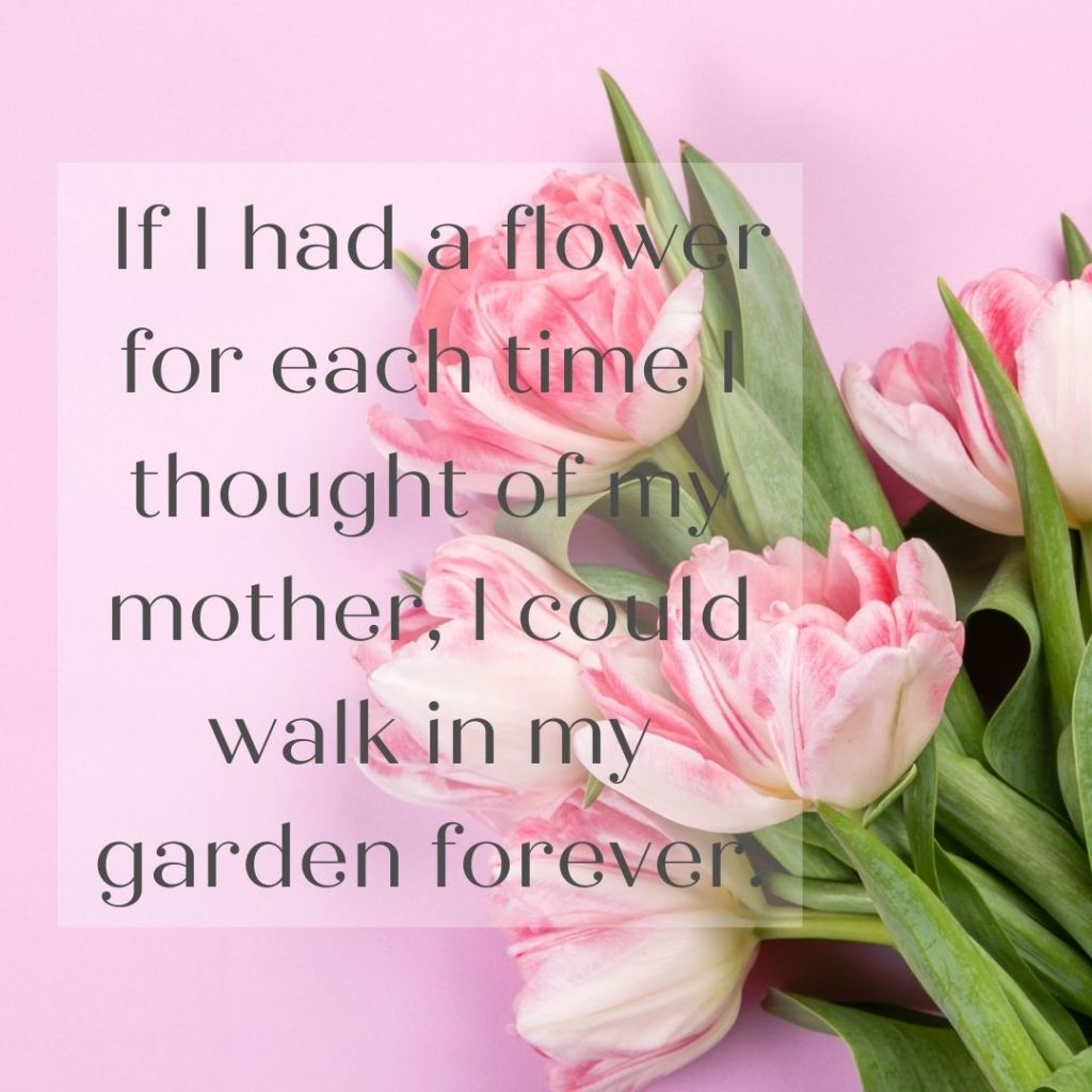 _If I had a flower for each time I thought of my mother, I could walk in my garden forever._ - Unknown