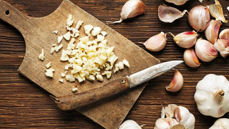 Garlic on a chopping board