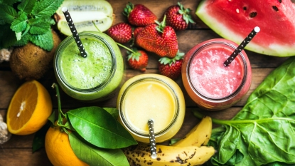 Green, yellow, and red juices