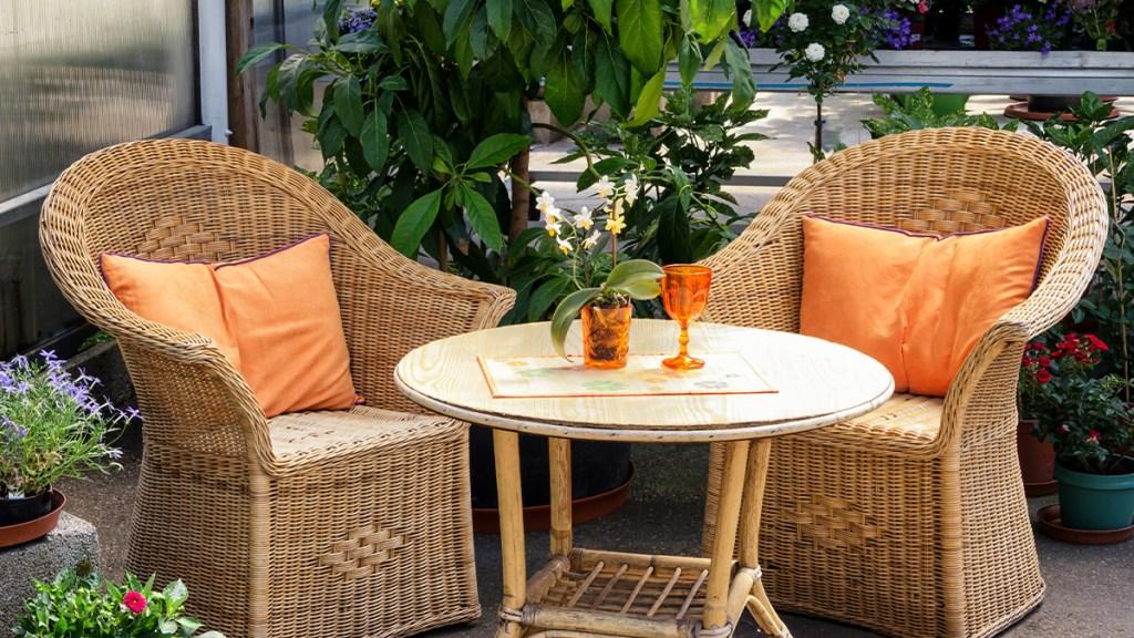 Outdoor patio area with earth tones