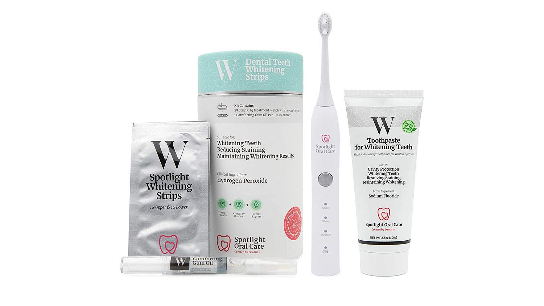 spotlight oral care bundle - toothbrush, toothpaste, whitening strips