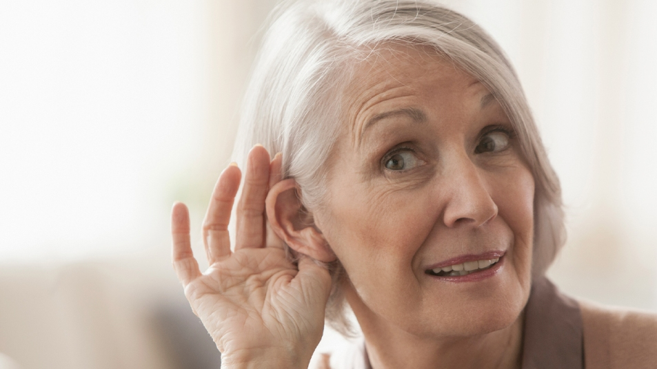 Woman trying to hear